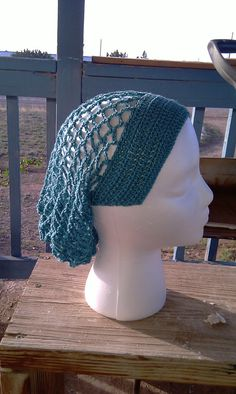 Teal Crocheted Snood Headveil Headcover Hairnet by Ripsimeh, $12.00