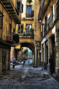 A street in the old quarter of Barcelona