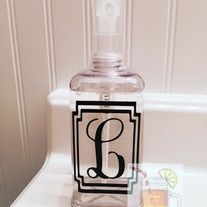 """Lovely+Square+shaped+acrylic+soap+or+lotion+dispenser+with+clear+pump+top.+Measures+approximately+7""""+tall+and+3""""+at+widest+diameter.+Perfect+for+bath+or+kitchen.  Comes+beautifully+monogrammed+in+high+grade+washable+vinyl+in+your+choice+of+many+colors+(see+pictures).  At+checkout,+please+prov..."""