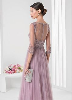 Buy discount Fabulous Tulle & Satin Bateau Neckline Three-quarter Sleeves Floor-length A-line Evening Dresses with Embroidery at Ailsabridal.com