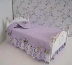 Bed, single, Pretty lavender spread .  a dollhouse miniature in twelfth scale on Etsy, $25.00