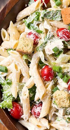 Caesar Pasta Salad ~ A creamy and delicious pasta salad with all the flavors of a Caesar Salad. Use dream fields pasta instead with homemade dressing. Think Food, I Love Food, Food For Thought, Good Food, Yummy Food, Pasta Recipes, Salad Recipes, Dinner Recipes, Cooking Recipes