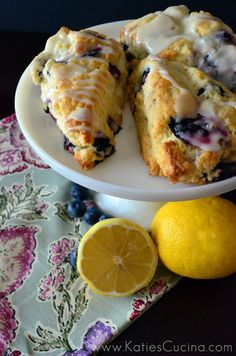 Blueberry Scones with Lemon Glaze - Click through for recipe!