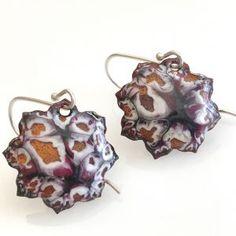 Enameled Lotus Earrings