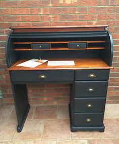 SALE... Painted Black/Cherry Wood Waxed Roll Top Desk - Vintage/Office/Design | eBay