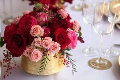 Luscious red & pink rose centrepiece