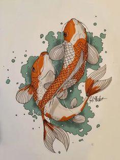Classic koi art print with orange and white patterns by Norbert Garab koifish carp koifishprints prints fishart # Koi Fish Drawing, Fish Drawings, Art Drawings, Japanese Koi Fish Tattoo, Animal Drawings, Koi Art, Fish Art, Koi Painting, Japon Illustration