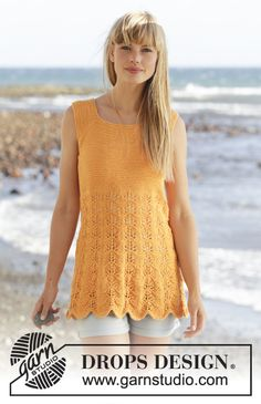 """Sunkissed - Top in garter st with wave pattern and band mid back on yoke in """"Safran"""". Free #knitting pattern"""
