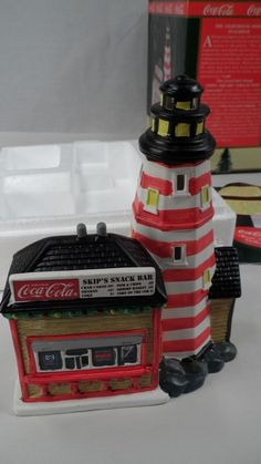 MIB Ltd Edition Coca Cola Town Square Lighted Lighthouse Point Skip's Snack Bar #CocaCola