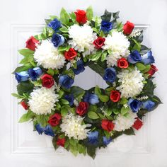 Patriotic - Red White & Blue - 4th of July Summer Door Wreath - Memeorial -Veteran Silk Floral : Floral Home Decor