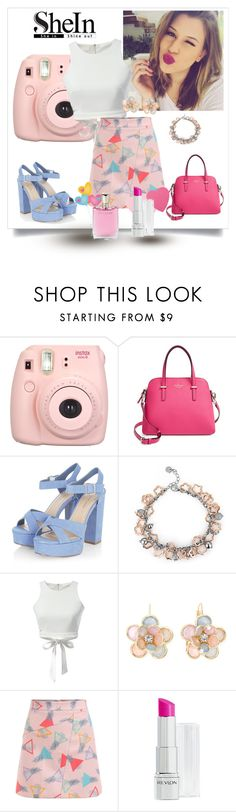 """""""Skirt by Shein"""" by dudavagsantos ❤ liked on Polyvore featuring Kate Spade, MBLife.com, Mixit, Revlon, Lancôme and shein"""