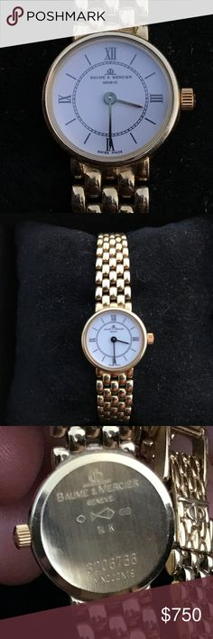 Exquisite 14K gold Baume & Mercier ladies watch This classic Swiss made beauty from the house of Baume & Mercier Geneve 1830 is a treasure waiting to be shared. Simple elegance speaks volumes! Length 7 1/2 inches long come with original box. It's a beauty. Baume & Mercier Accessories Watches