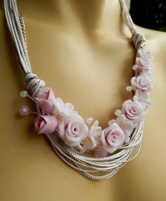 Bib handmade necklace  Pink flower necklace by insoujewelry, $70.00