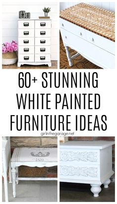 White doesn't have to be boring! Discover 60+ white painted furniture ideas that are stunning in their own unique way. By Girl in the Garage Diy Furniture Tutorials, Diy Furniture Flip, Find Furniture, Furniture Makeover, Furniture Ideas, Repainting Furniture, Chalk Paint Furniture, Refinished Furniture, White Painted Furniture