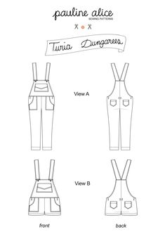 TURIA DUNGAREES - Printed or PDF Pattern by http://www.paulinealicepatterns.com/turia-dungarees?language=en . The Turia dungarees feature front and back patch pockets, zipped sides, classic pinafore back and adjustable shoulder straps. View A has cropped ankle length tapered legs. View B is the short version.