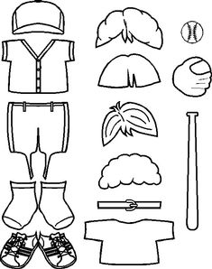 Baseball Friends Clothes for Paper Dolls from Making Friends Girl Scout Troop, Girl Scouts, Day Camp Activities, Softball Crafts, Paper Dolls Printable, Picasa Web Albums, Friend Outfits, Crafts For Kids To Make, Doll Patterns