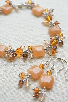 Orange Aventurine gemstones Topaz Brandy Swarovski crystals