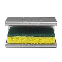 Spongester: Good sponge is up top (for dishes) and evil sponge is below (for countertops/sinks). Both can dry. $25