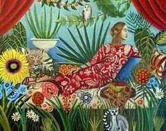 greek art, pose, botanical paradise, rosseau , catherine nolin, paintings, leopard, animal art, lemur