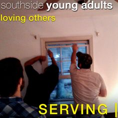"Southside Young Adults SERVING| in the Senior Adult community by repairing a non-functioning window and keeping the air-conditioning inside.  [We could hear the voice of experience yelling - ""You trying to cool-off the outdoors?""]"