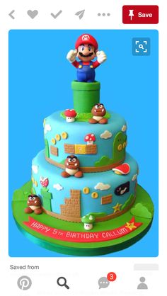 Beware of goombas, bullets and turtle shells! This cakebrings back the nostalgia of playing the original Super MarioBrothers. The topper for this cake is a 5 inch tall Mario figurewhich can be kept and played with long after this cake has beeneaten. Bolo Do Mario, Bolo Super Mario, Super Mario Cupcakes, Luigi Cake, Mario Bros Cake, Mario Birthday Cake, Super Mario Birthday, 5th Birthday, Birthday Ideas
