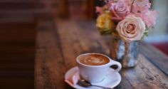 Cappuccino and flowers