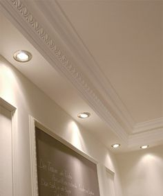 Molding for indirect lighting. Collection of high quality crown molding designed for indirect lighting, it is perfect for modern and contemporary interiors Plaster Ceiling Design, Molding Ceiling, House Ceiling Design, Ceiling Design Living Room, Bedroom False Ceiling Design, Ceiling Light Design, Home Ceiling, Ceiling Decor, Living Room Designs