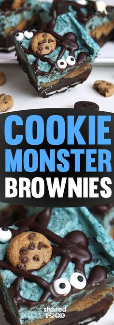 Cookie Monster is all the rage this year, and these Cookie Monster Brownies are the perfect addition for a themed party, Halloween, or really, any old day when you're craving a novelty treat to take care of that sweet tooth. These brownies are so simple to make from a boxed mix, and it's too much fun decorating with candy eyeballs and crushed cookies at the end! This dessert is uber sweet, so there's plenty to share - why not give it a try?