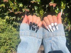 Edgy Nails, Grunge Nails, Stylish Nails, Simple Acrylic Nails, Fall Acrylic Nails, Coffin Press On Nails, Coffin Nails, Witchy Nails, Halloween Acrylic Nails