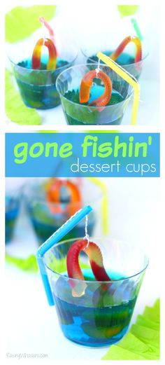 Gone Fishing Party Jello Dessert | Make this cute and easy dessert Jell-O cups for your next fishing themed party, complete with DIY fishing pole #PartyPlanning #Recipe