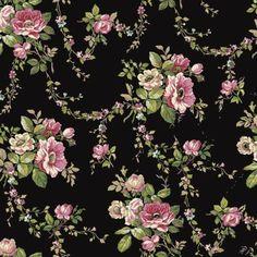 Ashford House Blooms Victorian Garden Wallpaper by York Wallpaper Stores, Chic Wallpaper, Wallpaper Samples, Fabric Wallpaper, Pattern Wallpaper, Art Vintage, Decoupage Vintage, Black Floral Wallpaper, Ashford House