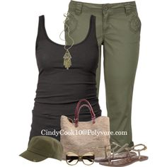 Been looking for a pair of military green cargo capris to no avail. Love the green/black combo Black Capri Outfits, Casual Outfits, Fashion Outfits, Womens Fashion, Cute Summer Outfits, Summer Wear, Spring Summer Fashion, Cute Outfits, Mommy Style