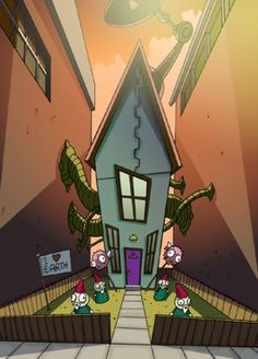 Rushed with the line art ZEEm Invader Zim Characters, Horror Drawing, Cartoon House, Best Cartoons Ever, Prop Design, Animation Background, Animated Cartoons, Marvel, Anime