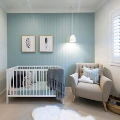 Credit: Amy Dawson Taubmans: Blue Willow Nursery feature wall, panelling, blue green and beige, pendant light Blue Feature Wall Bedroom, Timber Feature Wall, Feature Wall Design, White Bedroom, Bedroom Wall, Girls Bedroom, Feature Walls, Bedrooms, Childrens Bedroom
