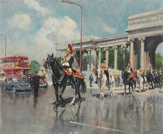 Hyde Park, Online Art, Oil On Canvas, Auction, Street View, Camden Group, Horses, Modern, Painting
