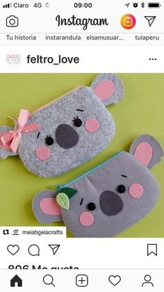 felted projects using wine Foam Crafts, Diy Arts And Crafts, Cute Sewing Projects, Sewing Crafts, Animal Bag, Felt Purse, Pencil Pouch, Pencil Cases, Kids Bags
