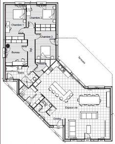 Plan De Maison Plein Pied En V                                                                                                                                                                                 Plus