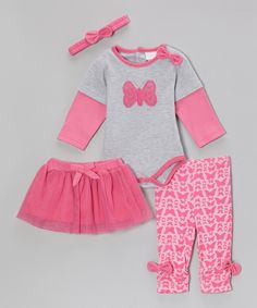 Another great find on #zulily! kathy ireland Fuchsia Butterfly Bow Layered Bodysuit Set - Infant by kathy ireland #zulilyfinds