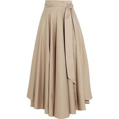 TibiObi Cotton-crepe Maxi Skirt (€385) ❤ liked on Polyvore featuring skirts, bottoms, beige, floor length skirts, ankle length skirt, long cotton skirts, maxi skirt and long skirts