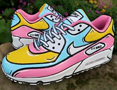 shoes Behind The Scenes By samalxr Sneakers Mode, Custom Sneakers, Custom Shoes, Sneakers Fashion, Nike Fashion, Fashion Outfits, Nike Air Max 90s, Painted Sneakers, Painted Shoes