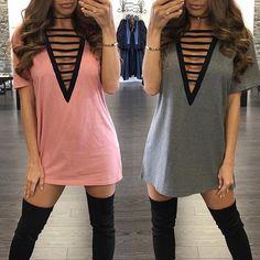 Women Sexy Cutout Bandage Plunge T-shirt Dress