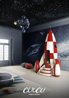 O Rocky Rocket da Circu – Magical Furniture, um móvel incrível para crianças (e adultos!) no formato de um foguete.