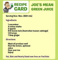 Joe Cross Mean Green Juice Recipe Card
