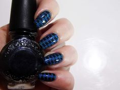 Freckles Polish Blue Lagoon stamped with Flash Black Konad stamping polish from Born Pretty Store