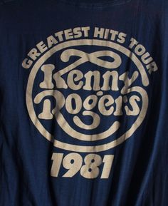 2db72fd7659 Kenny Rogers Concert T Shirt! 1981 Authentic Vintage! Kenny Rogers ~  Greatest Hits Tour 1981 Size Large