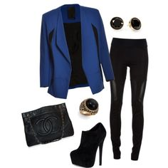 Royal Blue Blazer w/all black everything! (For the next concert with my BFF!)
