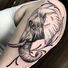 Dope Tattoos, Leg Tattoos, Small Tattoos, Sleeve Tattoos, Realistic Elephant Tattoo, Elephant Tattoo Design, Stencils Tatuagem, Tattoo Stencils, Blackwork