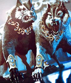 Geri & Freki- Norse myth: two wolves that accompany Odin in the hunt.