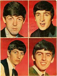 """The Beatles """"autographed colour photos"""" The Beatles 1, Beatles Photos, Beatles Art, Classic Rock And Roll, Music Artwork, Liverpool, Still In Love, The Fab Four, Music Photo"""