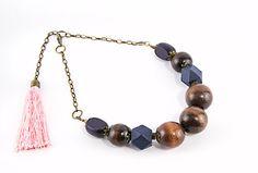 #Bold #chunky #necklace Geometric #woodnecklace #statement necklace Dark wood necklace #Tasselnecklace